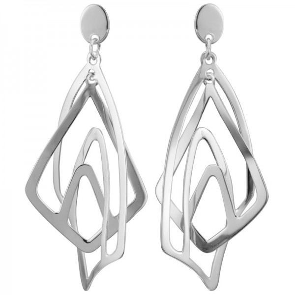 Sterling Silver Three Dimensional Dangle Earrings