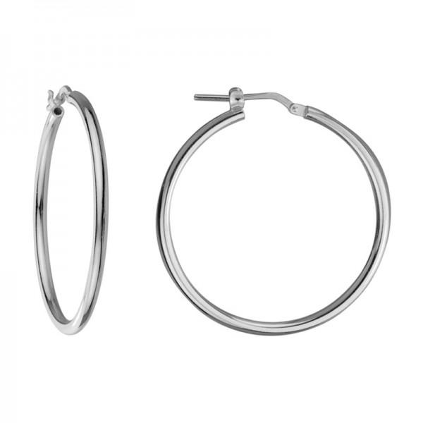 Silver Medium Hoop Round Tube Earrings