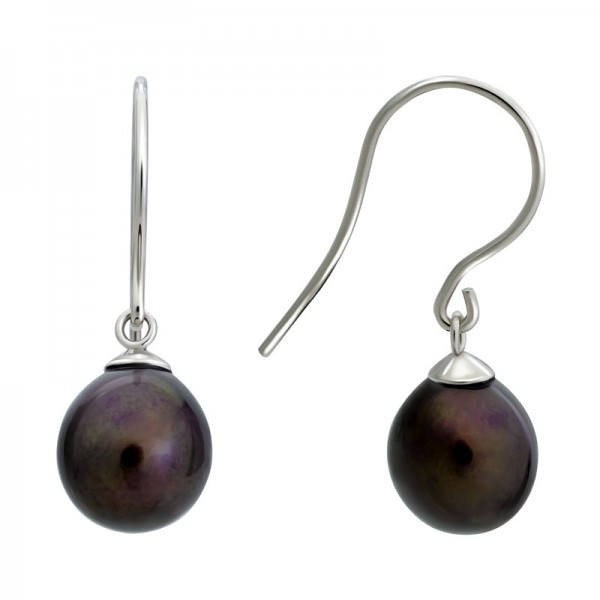 SS Black Freshwater Pearl Earrings