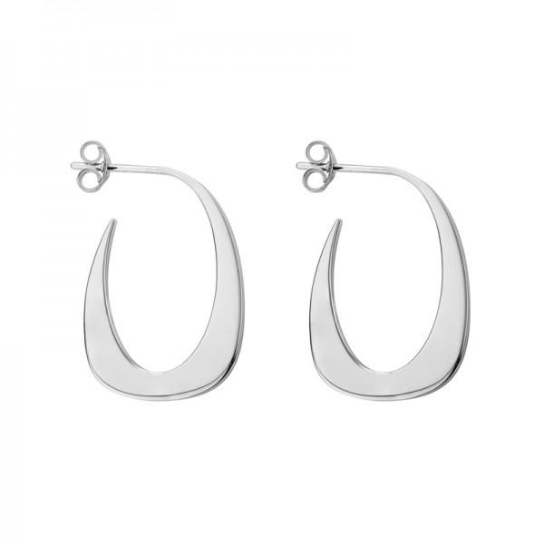 SS J-Hoop Thin U Earrings