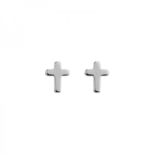 Silver Baby Cross Stud Earrings