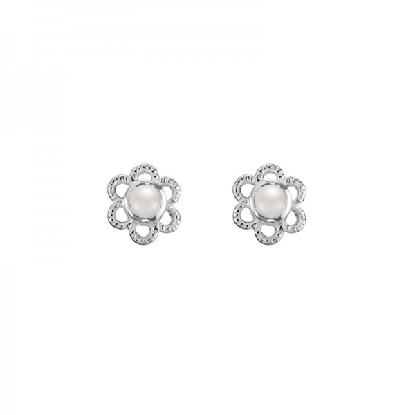 SS Freshwater Pearl Flower Stud Earrings