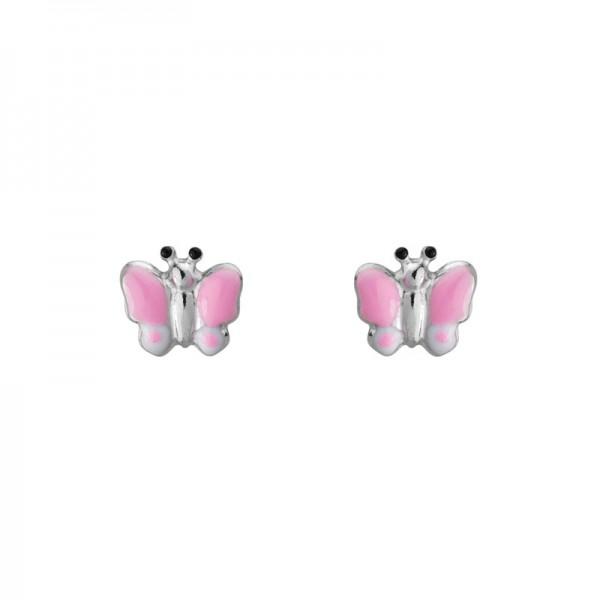 SS Pink & White Enamel Butterfly Earrings
