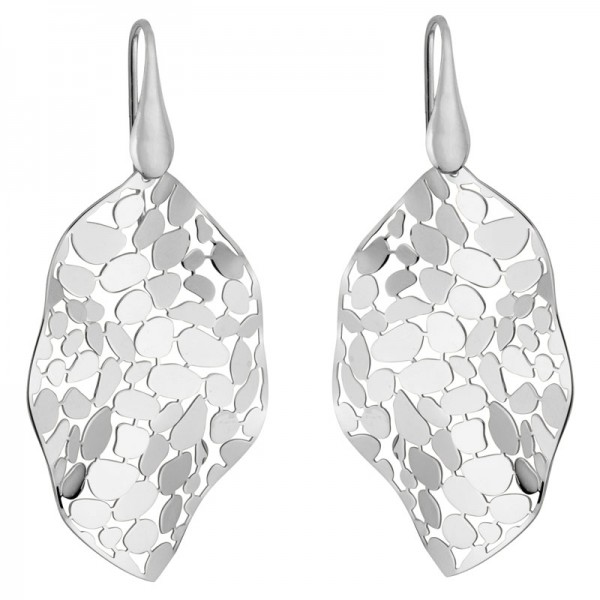 Silver Mosaic Leaf Earrings