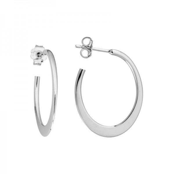 Silver Tapered Flat Hoop Earrings