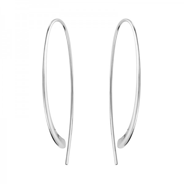 Silver Elongated Tapered Open Bottom Hoop Earrings