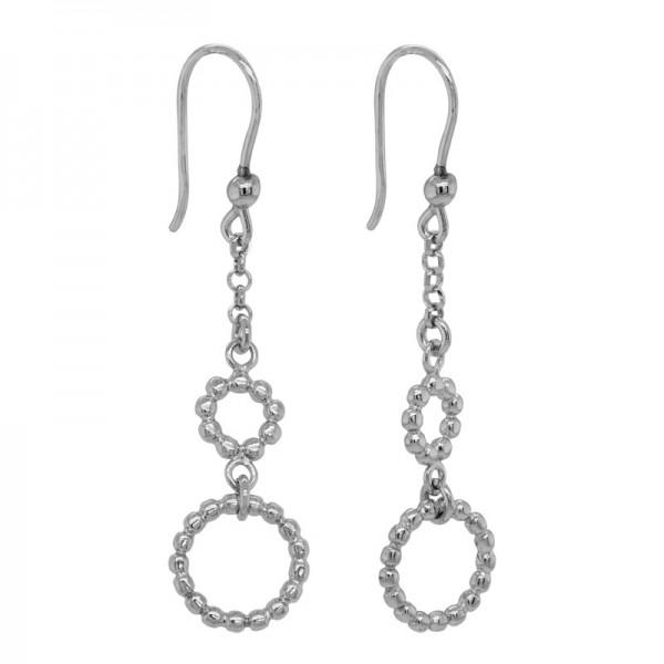 SS Beaded Double Circle Dangle Earrings