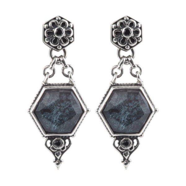 Sterling Silver specular hematite doublet with black spinel earrings