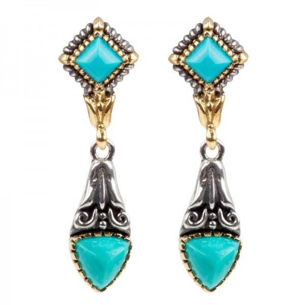 Women's Sterling/18K Turquoise Earrings