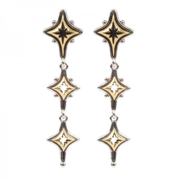 Women's  Astria Collection Silver & 18KY Gold Starstruck Drop Earrings