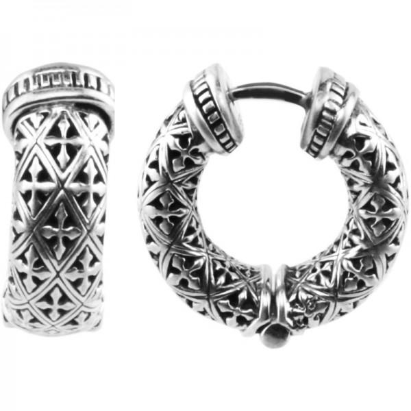 Women's Sterling Silver huggie earrings with gold post