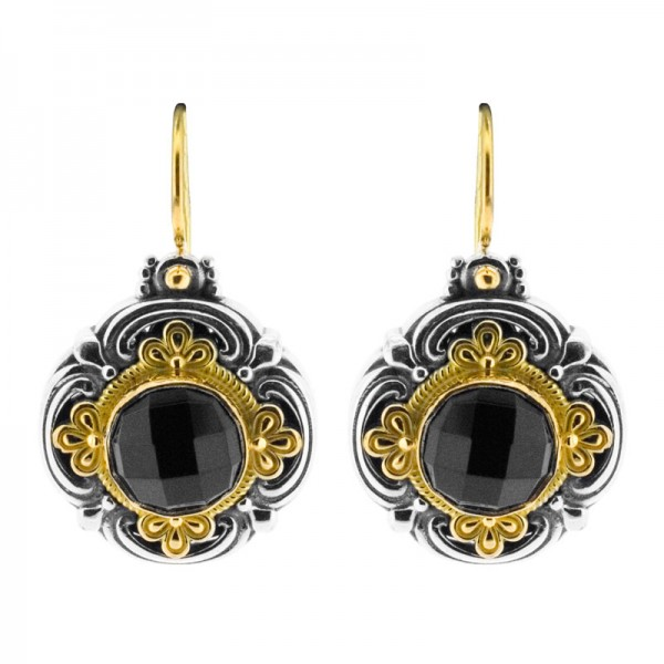 Sterling Silver and 18kt Yellow Gold NYK round clover black spinel on ear wires