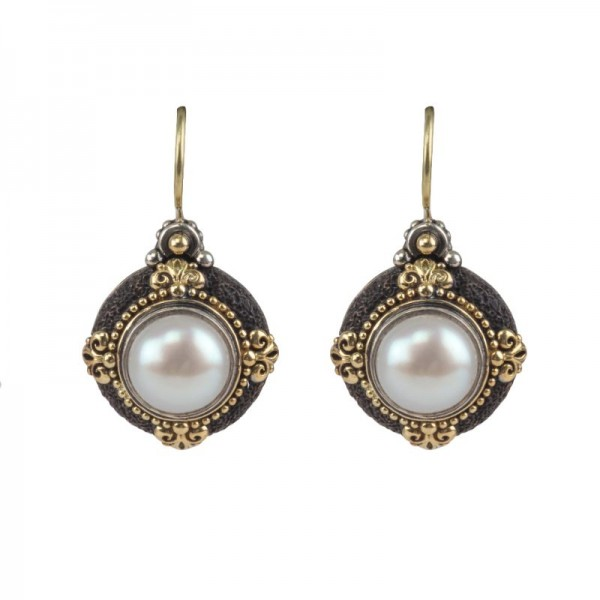 Women's Sterling Silver & 18KY Gold Pearl Drop Earrings