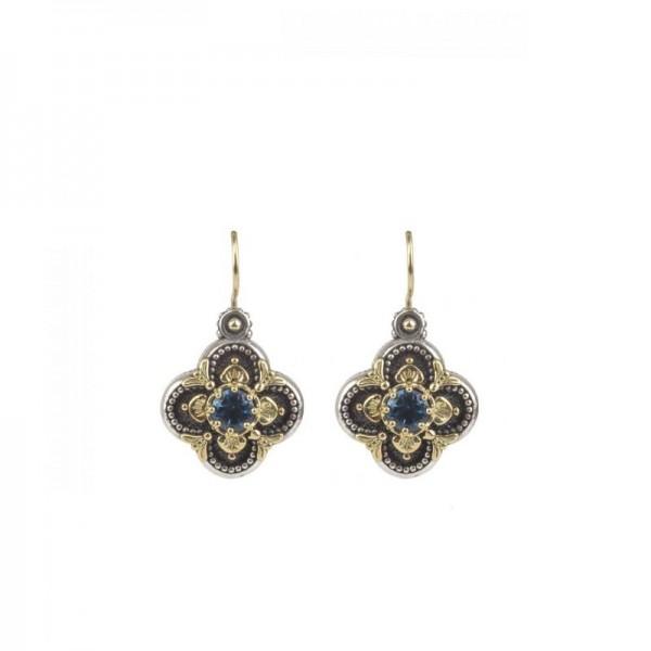 Women's Sterling Silver/Gold  london blue topaz earrings on ear wire