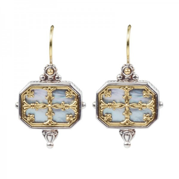 Women's Sterling Silver and 18kt Yellow Gold Mother of Pearl EARRINGS