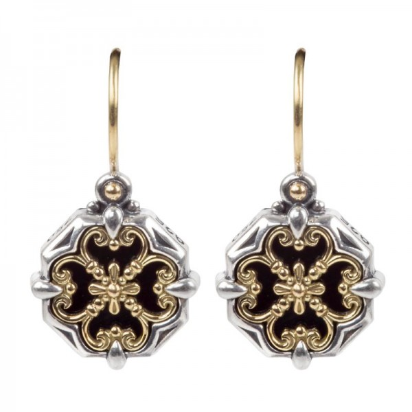 Women's Sterling and 18KY Onyx Earrings