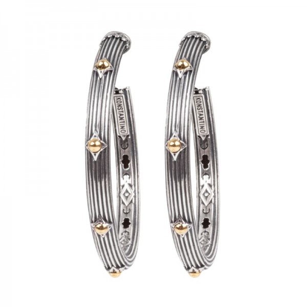 Women's Sterling Silver and 18K Gold Earrings