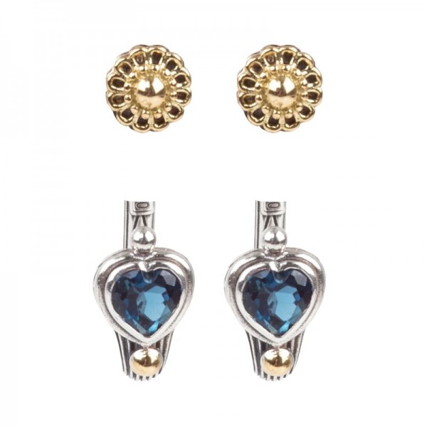 Women's Sterling Silver and 18K Gold Earrings with London Blue Topaz