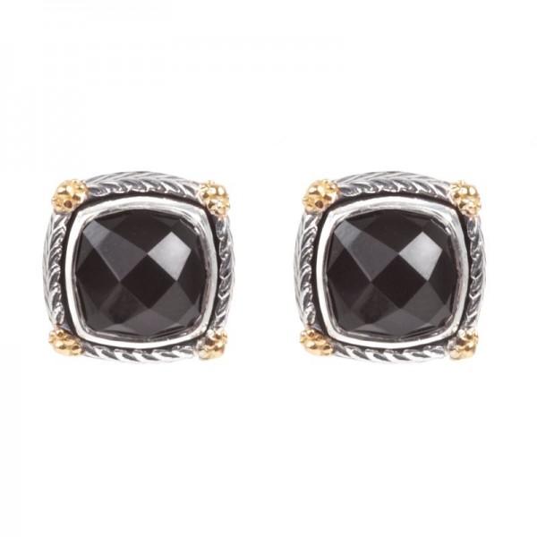 Women's Silver & 18KY Gold Black Onyx Earrings