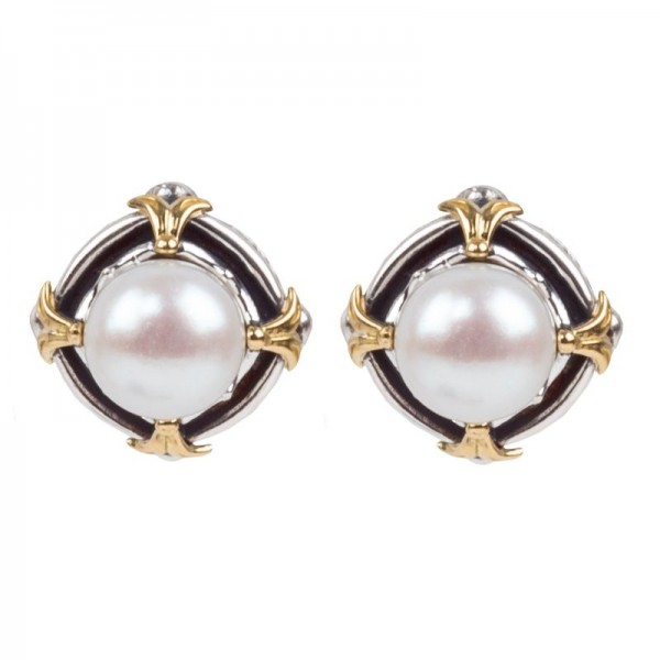 Women's  Kleos Collection Silver & 18KY Gold Pearl Stud Earrings