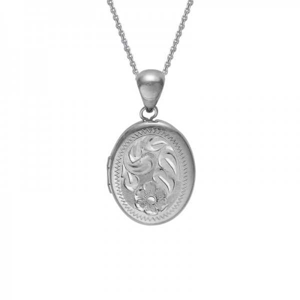 Silver 16mm Oval Engraved Locket on 16