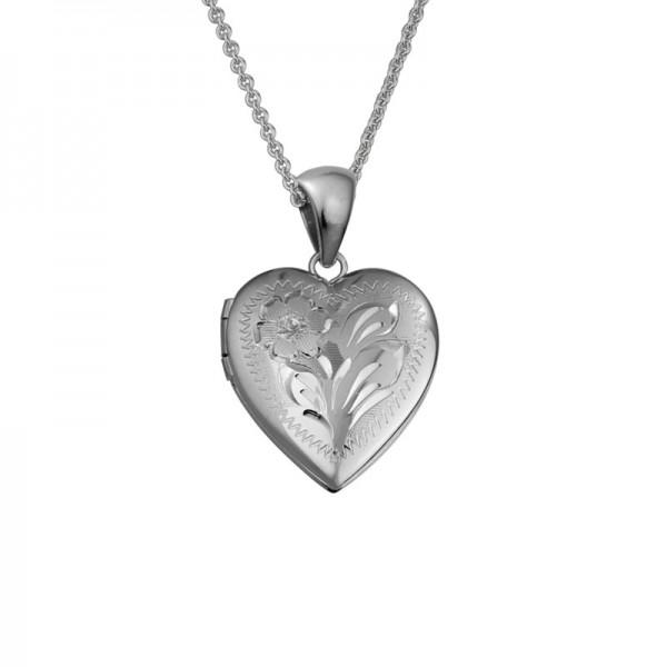 Silver Heart Engraved Locket on 16