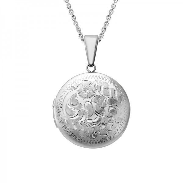 Silver Round Engraved Locket on 16