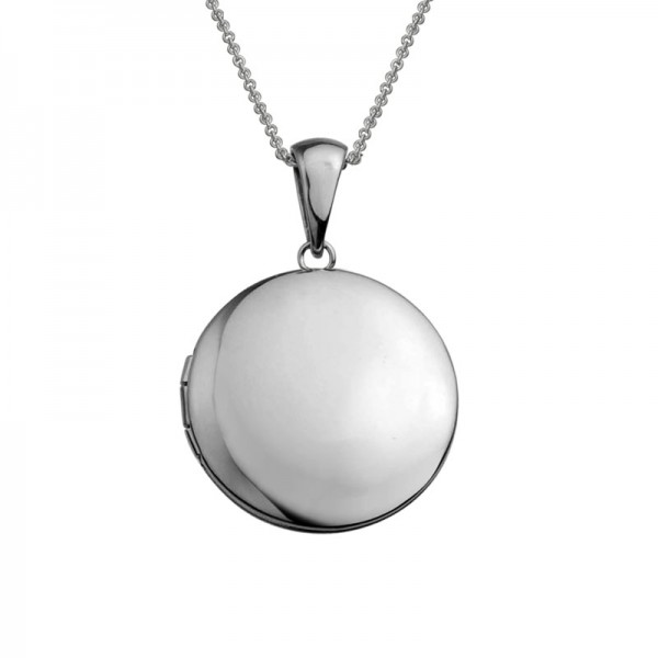 Silver Plain Round Locket on 16