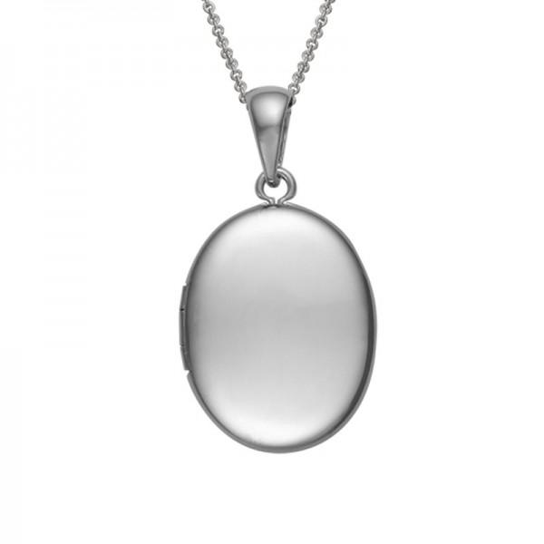 Silver Plain Oval Locket On 16