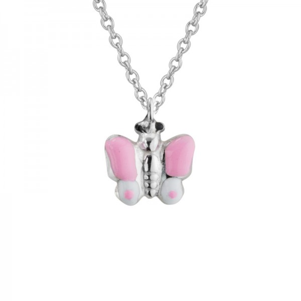 SS Pink & White Enamel Butterfly Necklace
