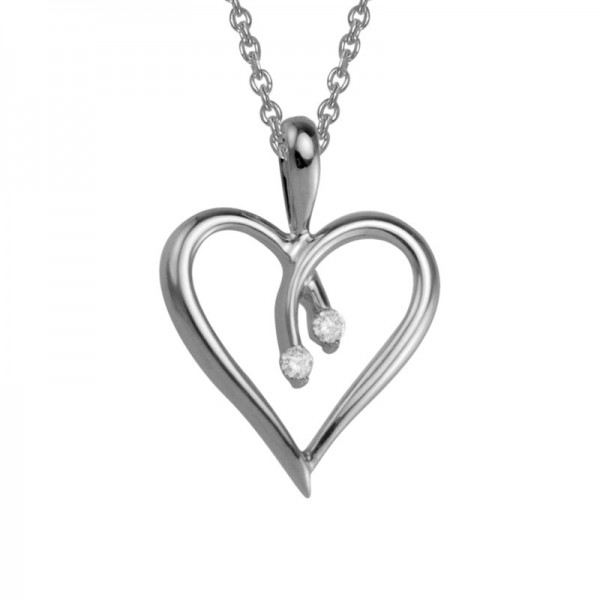 Silver Solid Open Heart Pendant With Two 0.02Ctw 16
