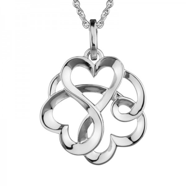 Sterling Silver Entwined Hearts Pendant on Adjustable Chain 16