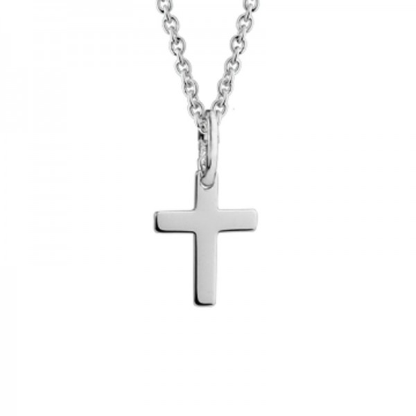 Silver Baby Cross Pendant On 14