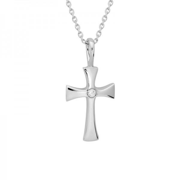 SS Diamond Cross Pendant
