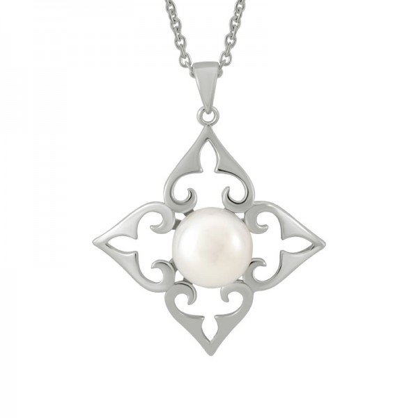 Sterling Silver Filigree Button Pearl Pendant on 18