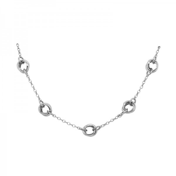 SS Five Circle Station Necklace