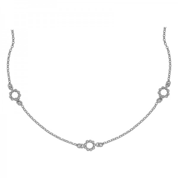 SS Beaded Circle Station Necklace