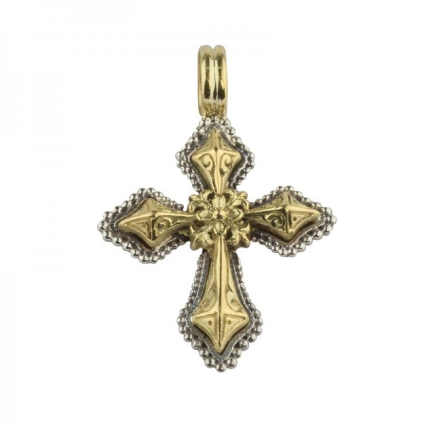 Women's Sterling and 18KY Cross Pendant