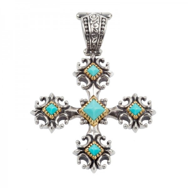 Women's Sterling/18K Turquoise Cross Pendant