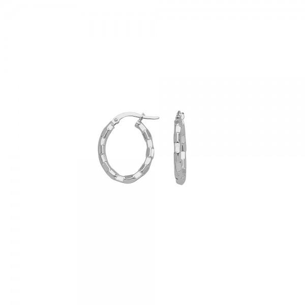 14KW Oval Brick Design Hoop Earrings