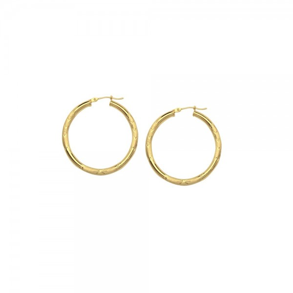 14KY Gold Florentine Round Hoop Earrings