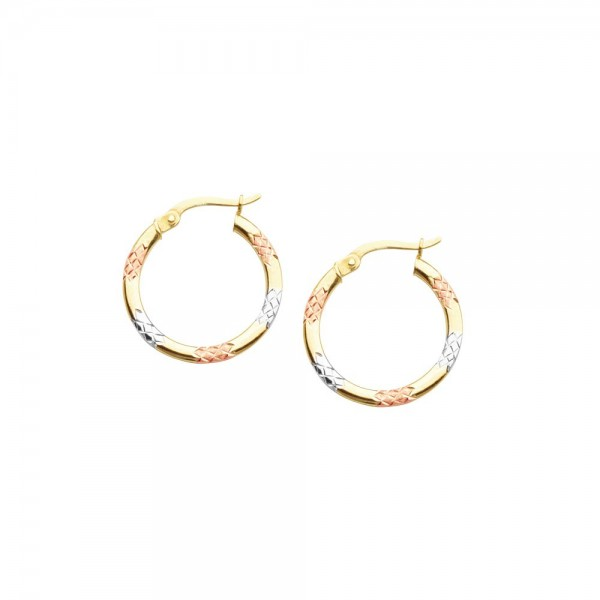 14KYRW Dia Cut Hoops Tri-Color
