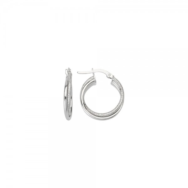 14KW Intertwined Plain and Hammered Hoop Earrings