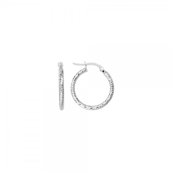 14KW Fancy Dia Cut Tube Hoop Earrings