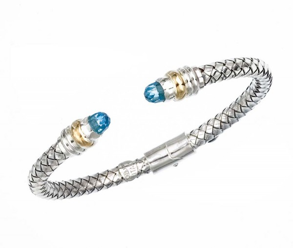 18K/Sterling Silver Thin Basketweave Cuff With Faceted Blue Topaz