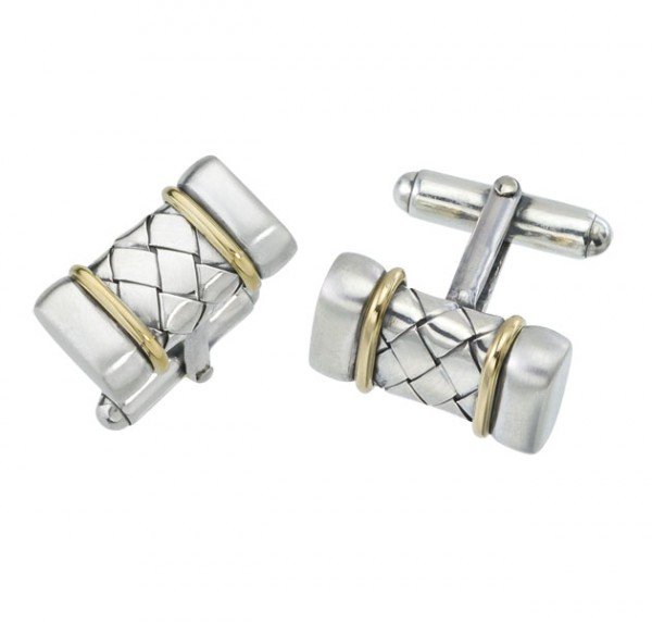 18K/Sterling Silver Basket Weave Bar Cufflinks W/Gold Ends