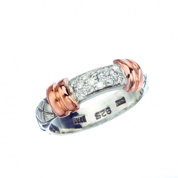 18Kt/Sterling Silver Basket Weave Ring With .14Ct Diamond Center Section And Rose Gold