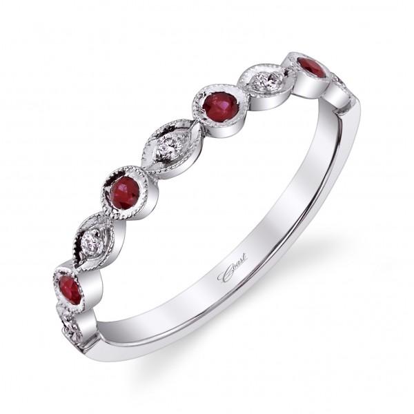 14KW Milgrain Diamond & Ruby Band .06ct tw Diamonds & .14ct tw Rubies