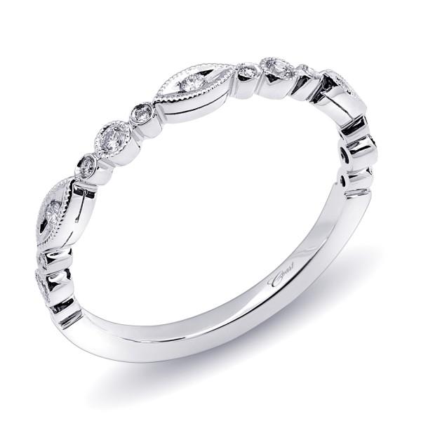14KW Milgrain Diamond Band .11ct tw 21 Round Diamonds