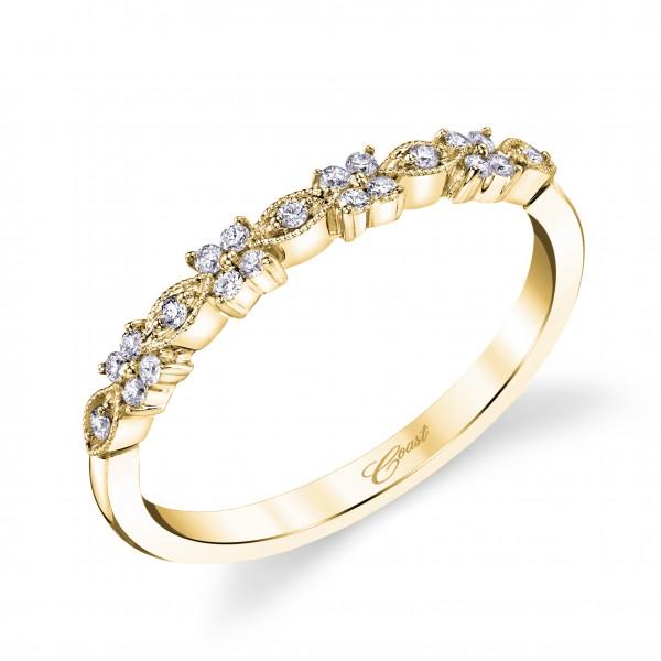 14KY Milgrain Diamond Band .13ct tw 21 Round Diamonds